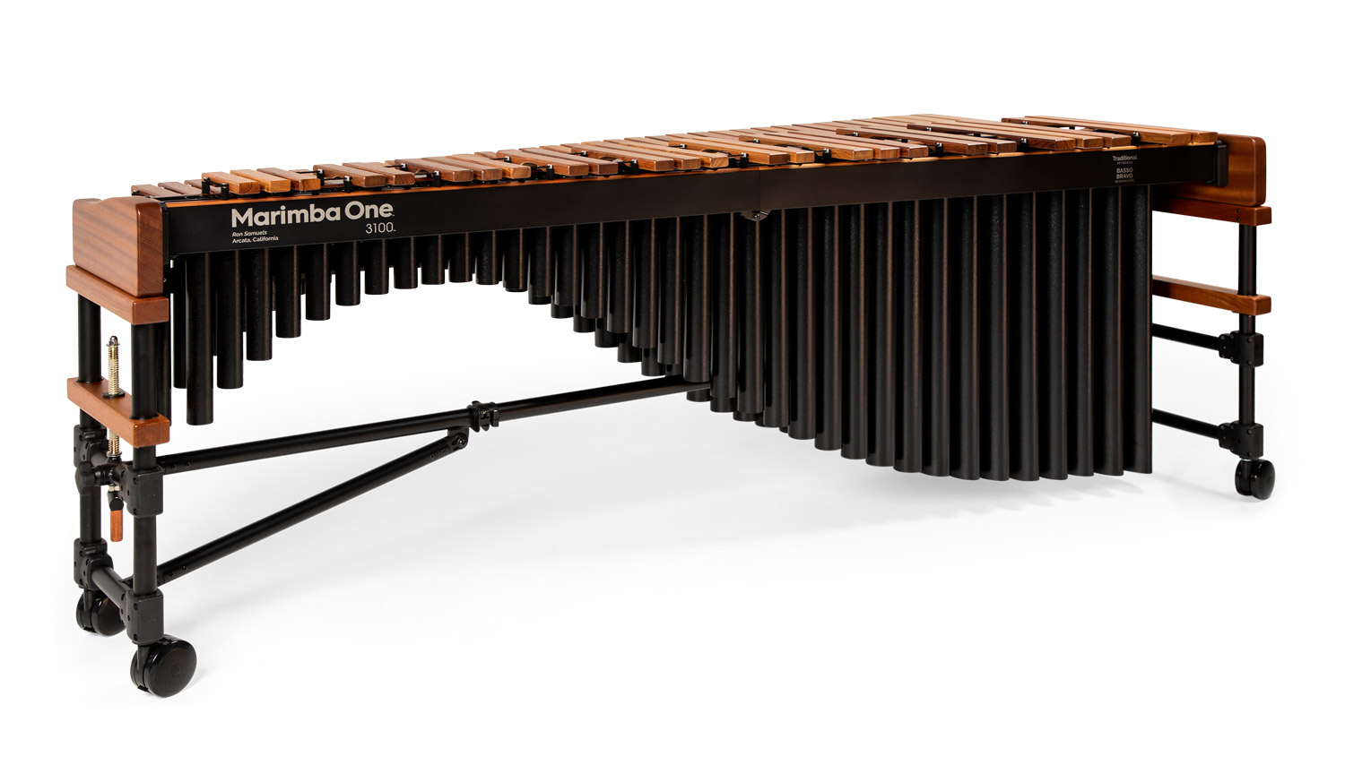 #9301 Marimba One 3100™ 5.0 Octave with Classic resonators, Traditional keyboard, 4″ Locking wheels 五個八度、經典共鳴管、傳統琴鍵、玫瑰木